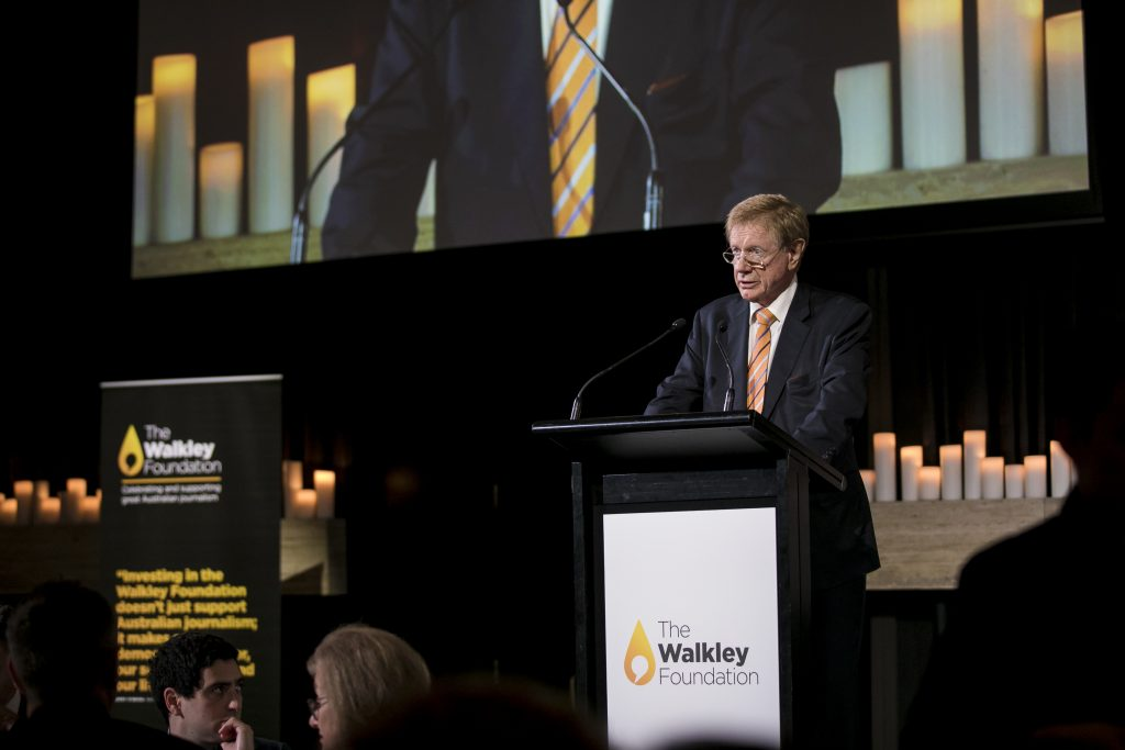 Walkley Foundation Chair Kerry O'Brien announces the grant winners in Sydney on April 5, 2019. Photo: Oneill Photographics.