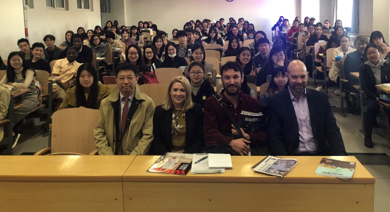 Professor Liu Chang, Rachael Brown, Andrew Quilty and Chip Le Grand with students at Beijing's Communications University.